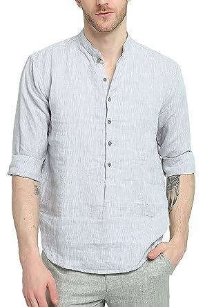 Najia Symbol Herren 100% Leinen Freizeit Henley Shirt Hemd Langarm  Stehkragen (Grau, S 17ae979ef2
