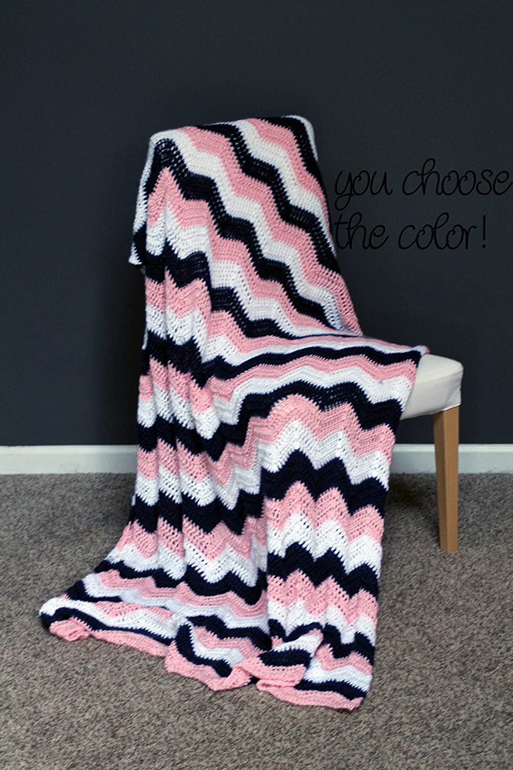 Image of Chevron Afghan Throw Blanket Crochet - Dark Blue, Light Pink and White Striped Ripple Zig Zag - Made To Order Home and Kitchen