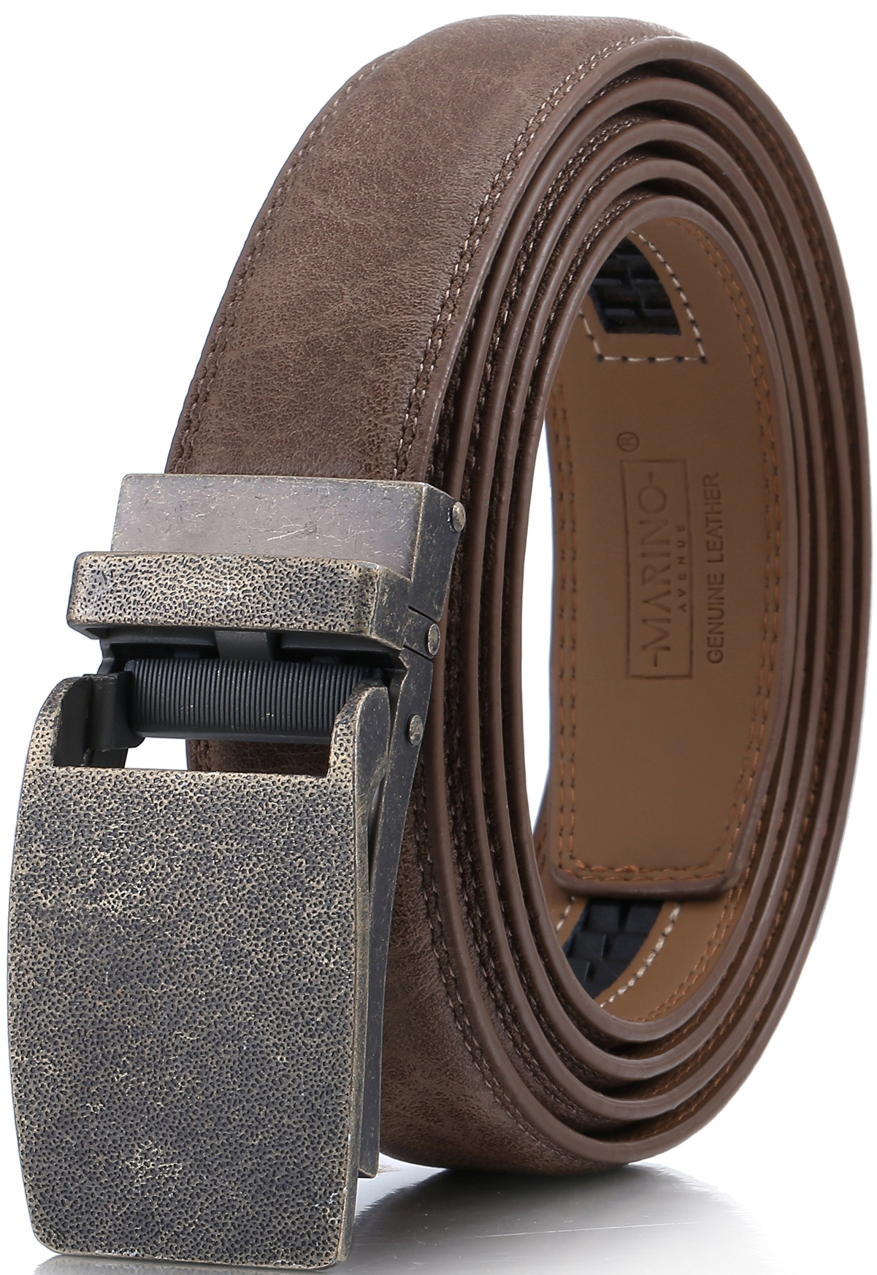 Marino Avenue Men's Genuine Leather Ratchet Dress Belt with Linxx Buckle, Enclosed in an Elegant Gift Box - Walnut - Style 167 - Adjustable from 28'' to 44'' Waist