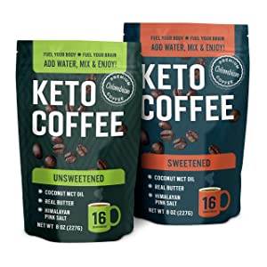 360 Nutrition Instant Keto Coffee Bundle | Unsweetened & Sweetened 8 oz Bags | MCT Oil with Organic Grass-Fed Butter