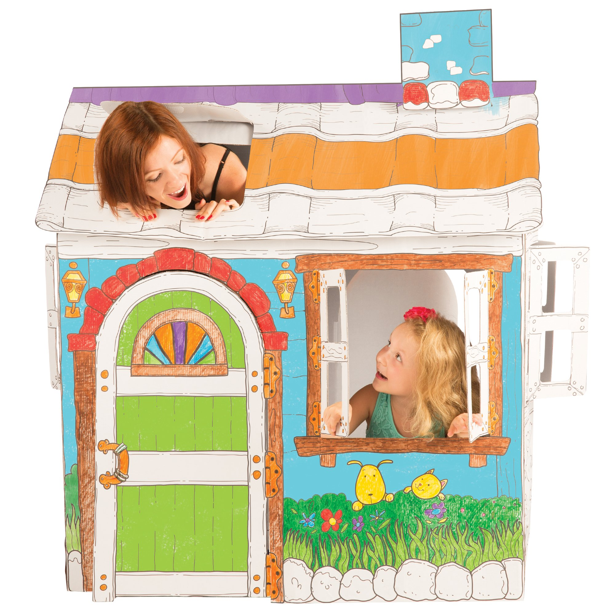 Cardboard Playhouse for Kids to Color - Create an Easy Play House with Included Markers and Over 50 Sticker Decorations! by Discover with Dr. Cool