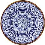 Prato de Jantar Linha Mandala Mimo Style Azul/Branco