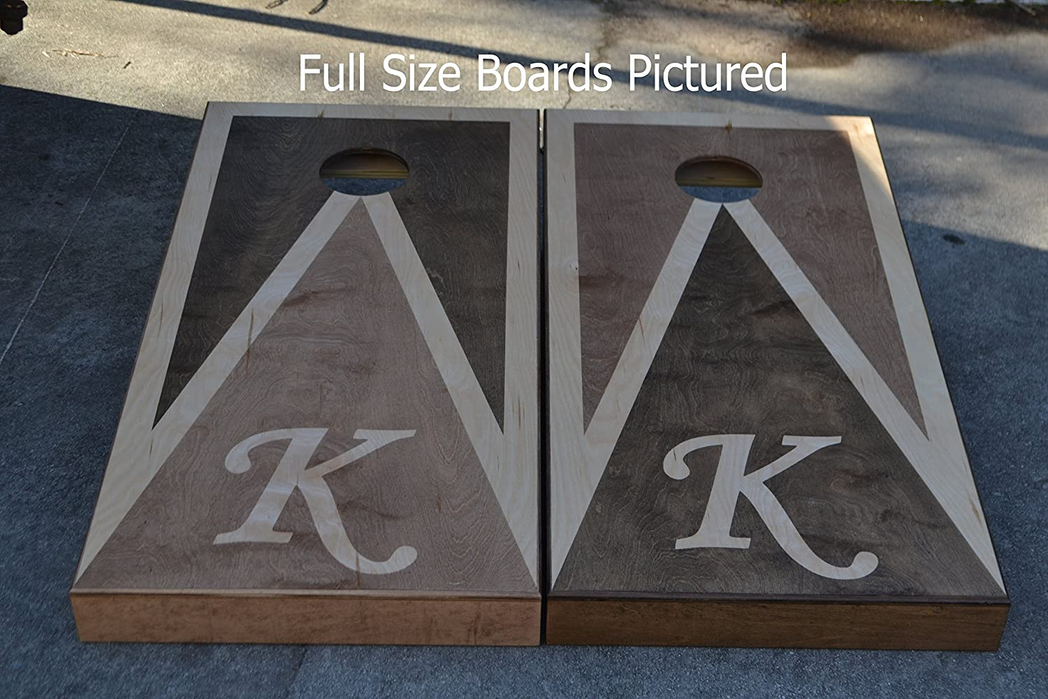 Custom Stained Personalized Initial Cornhole Boards Set with Bags