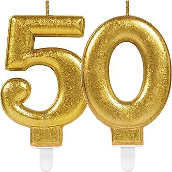 2 x Número velas * Número 50 * en oro//11 cm x 9 cm Grande ...
