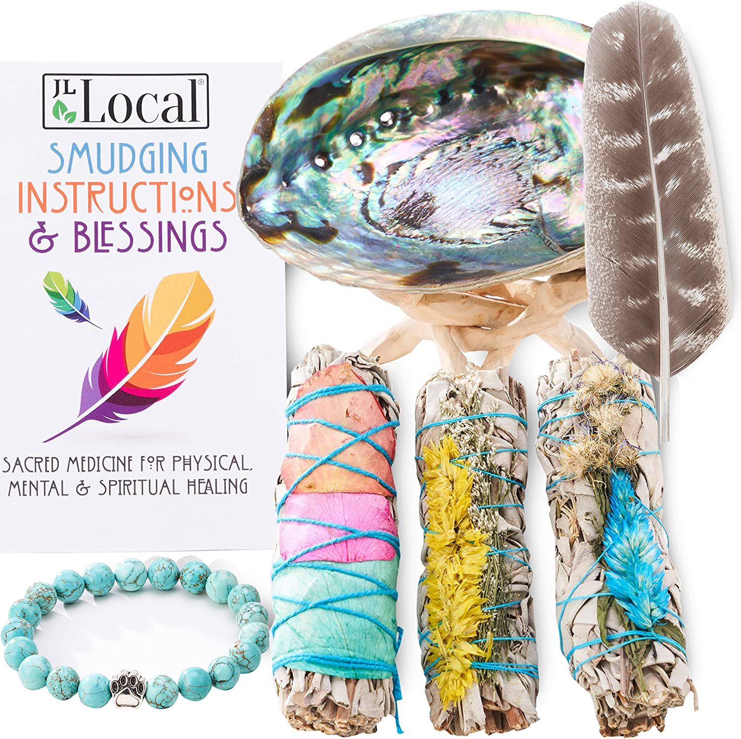 3 White Sage Fire Flowers Smudging Kit   Smudge Kit with Abalone Shell, Stand, Instructions, Blessings & Turquoise Bracelet