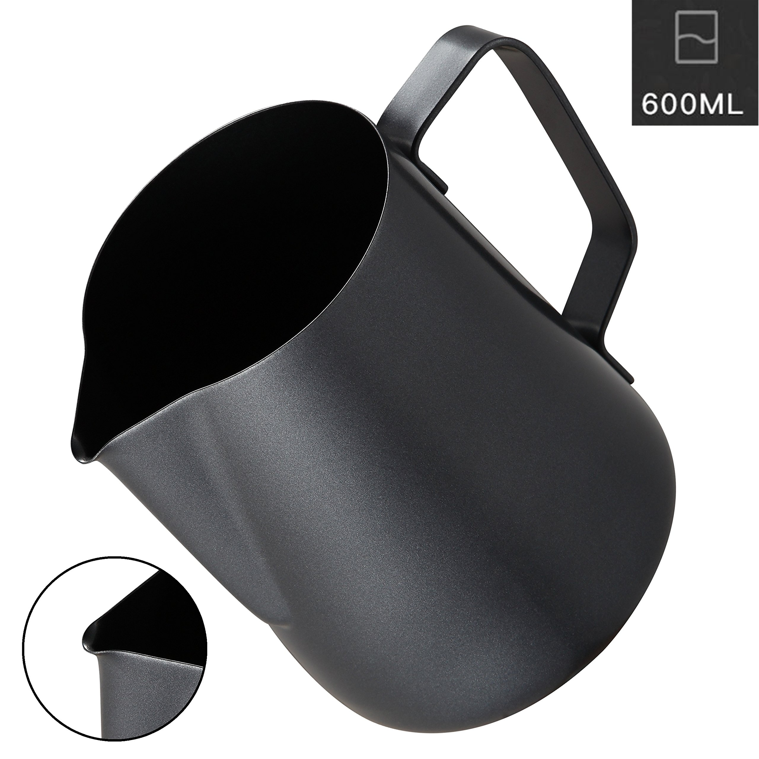 Milk Frothing Pitcher, Coffee4u Stainless Steel Creamer Non-Stick Teflon Frothing Pitcher 20 oz (600 ml), Matte Finish