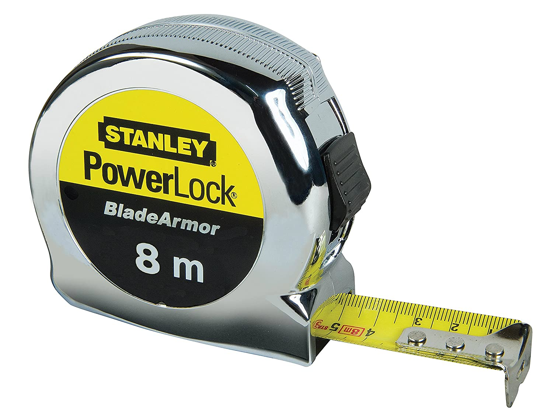 Stanley Bandmaß PowerLock Länge 3m extra-starkes Band verchr Metallgehäuse