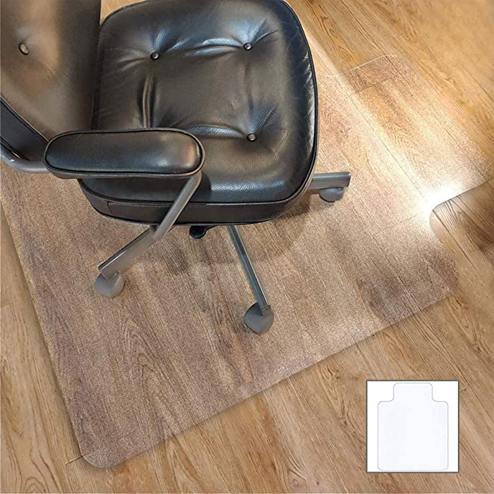 Office Chair Mat for HardwoodFloor with 35''×47'',Tile Floor Protector PVC Transparent,Heavy Duty Clear Wood,Polyethylene Hard Floor Mat for Computer Desk