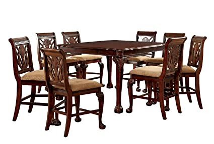Furniture Of America Bonaventure 9 Piece Traditional Style Pub Dining Set