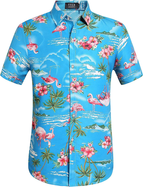 SSLR Camisa Manga Corta con Estampado de Flamencos y Flores 3D Estilo Hawaiana de Hombre: Amazon.es: Ropa y accesorios