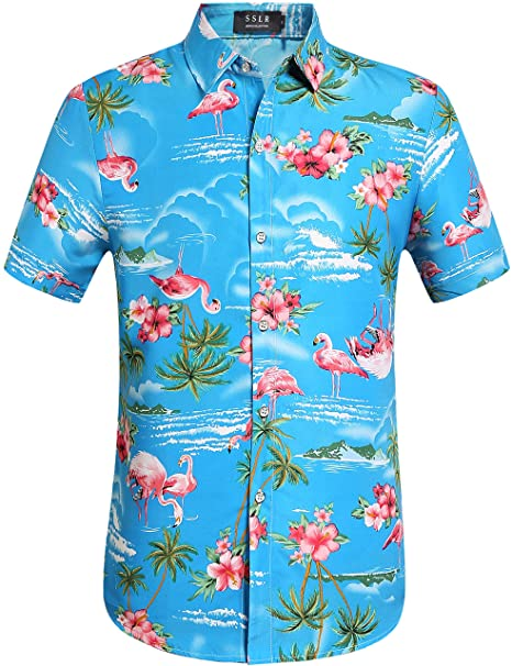 555df919 SSLR Men's Flamingos Casual Short Sleeve Aloha Hawaiian Shirt (Small, Blue)
