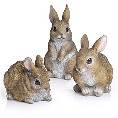 Besti Bunny Statue Yard Garden Decorations (3 Bunnies) | Cute Rabbits Look Great in Any Outdoor Living Space | Small Bunnies Can Also Be Used for Kitchen & Table Decor | 2-7/8 x 4 x 4-1/4 Inches : Garden & Outdoor