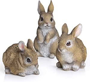 Besti Bunny Statue Yard Garden Decorations (3 Bunnies) | Cute Rabbits Look Great in Any Outdoor Living Space | Small Bunnies Can Also Be Used for Kitchen & Table Decor | 2-7/8 x 4 x 4-1/4 Inches