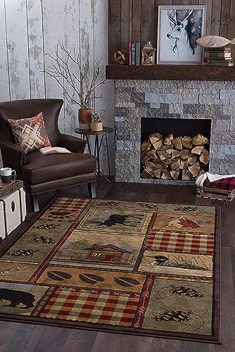 Homespun Cabin Novelty Lodge Pattern Multi-Color Rectangle Area Rug