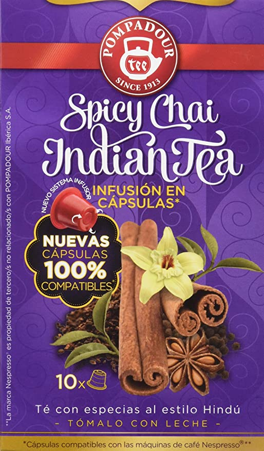 Pompadour Spicy Chai Indian Té - 10 Cápsulas: Amazon.es: Amazon Pantry
