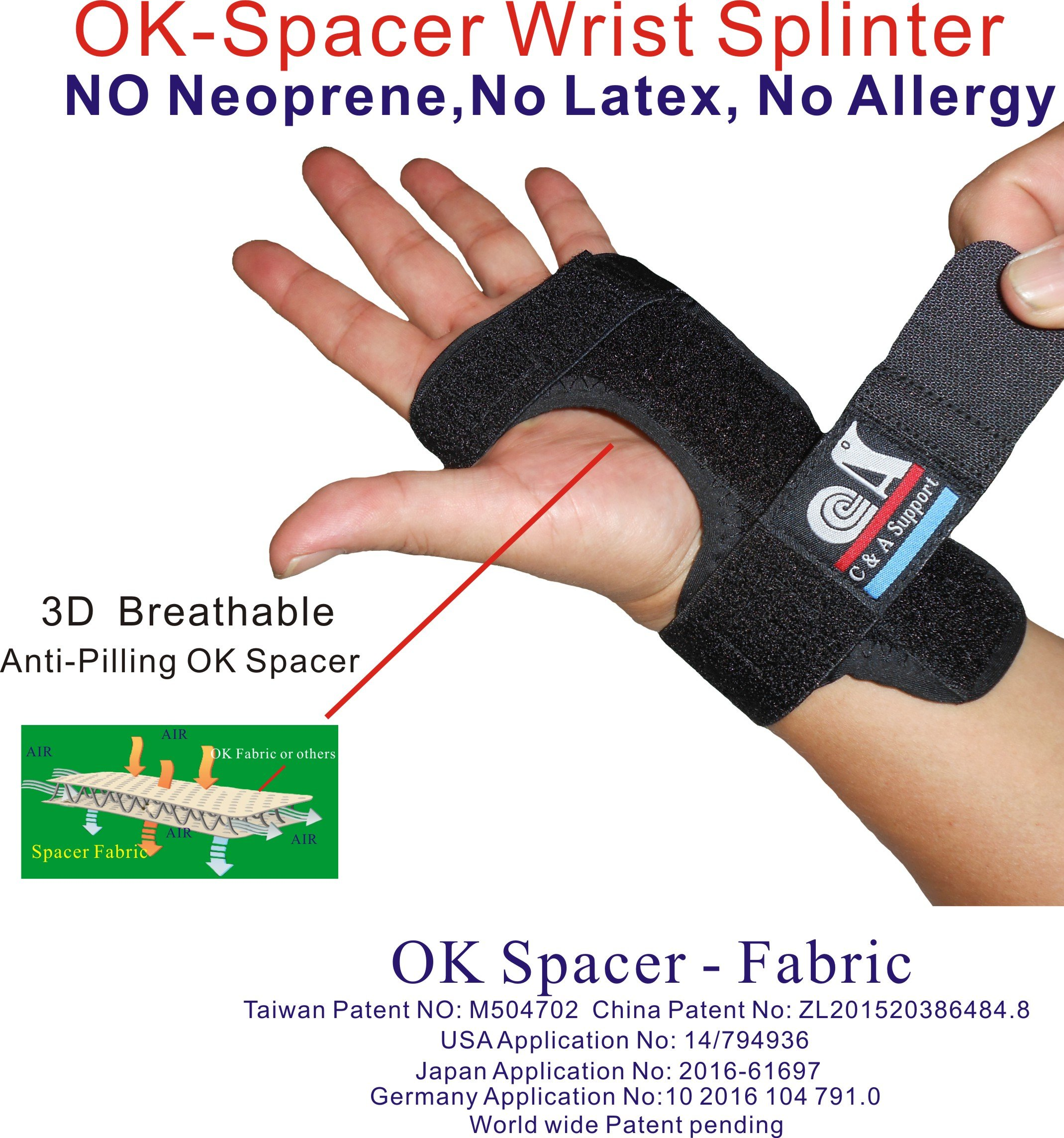 C&A Support, WS-OS-20, New 3D Breathable Patented Fabric RSI Night Wrist Splint, Night Wrist Sleep Support for Carpal Tunnel, Tendonitis, Wrist Pain, Sprains, Adjustable by C&A Support