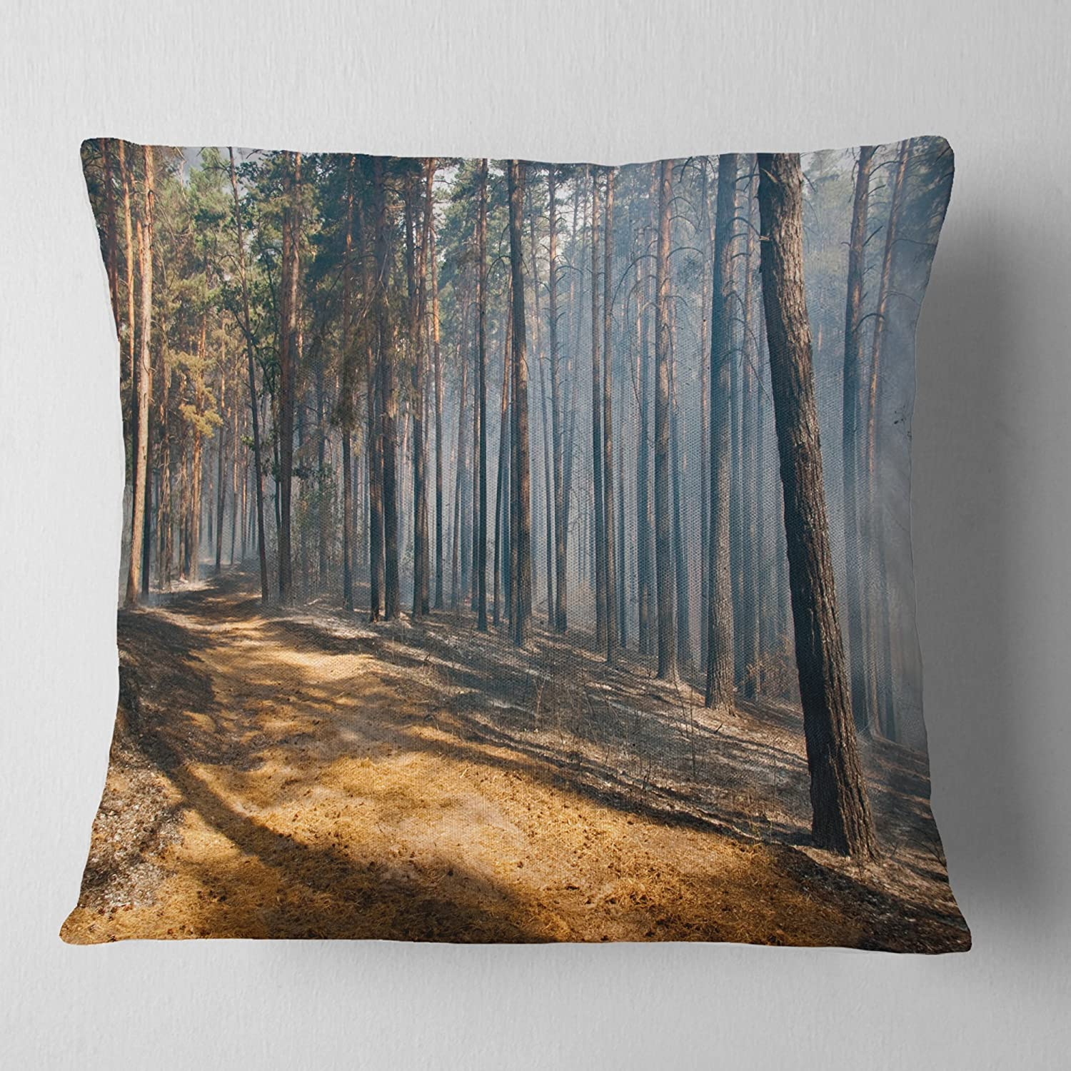 Sofa Throw Pillow 18 x 18 Designart CU13926-18-18 Fire Flame and Smoke Modern Forest Cushion Cover for Living Room