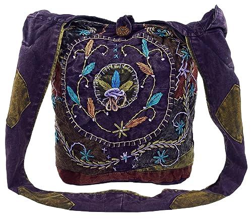 Guru Shop Batik Sadhu Bag, Hippie Tasche, Goa Schulterbeutel Lila, HerrenDamen, Baumwolle, 40x35x25 cm, Bunter Stoffbeutel