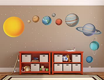 X Large Solar System Wall Decals // Large Planets Wall Stickers // Planet Part 33