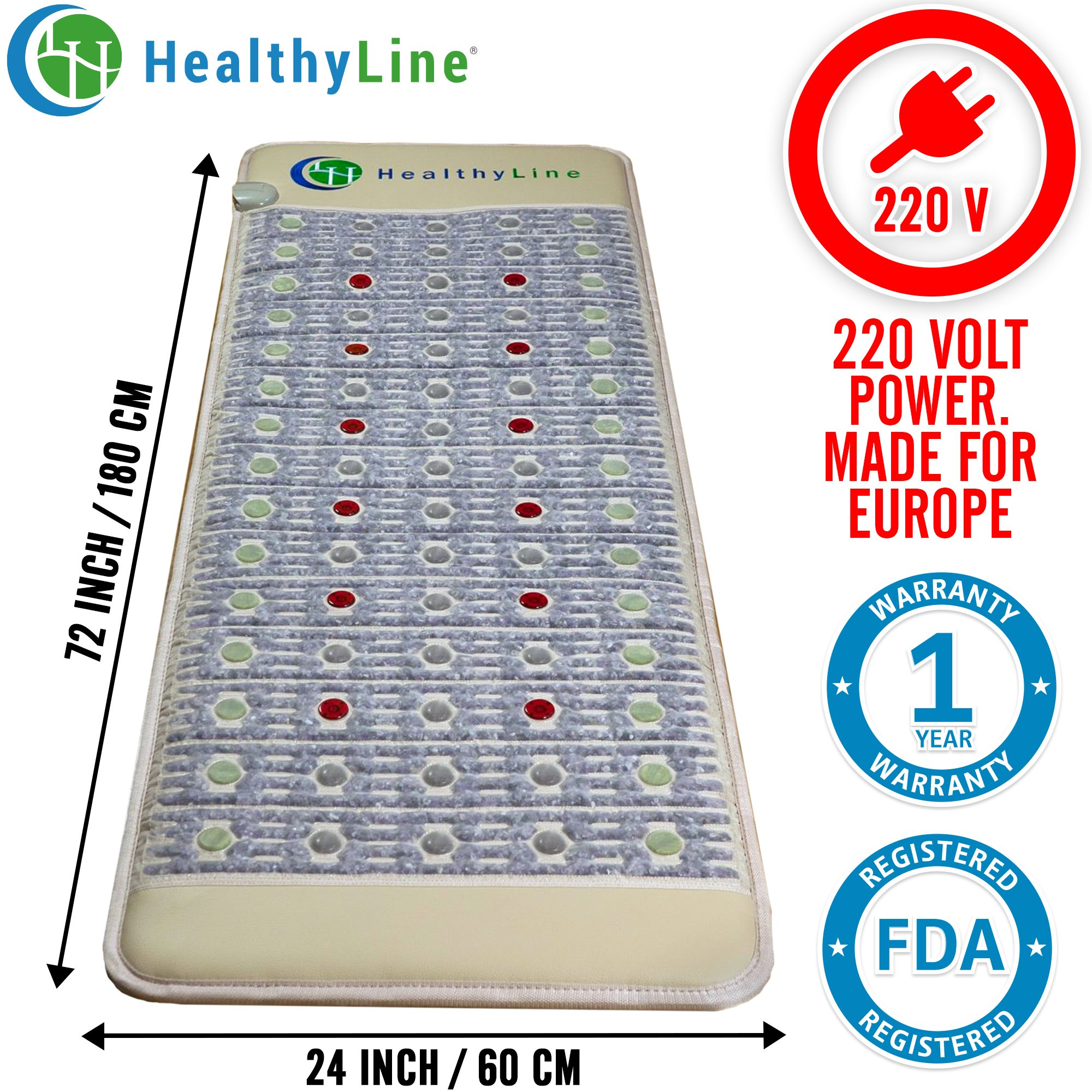 HealhyLine Natural Infrared Heating Mat - Relieve Pain, Sore Muscles, Arthritis and Injury Recovery - European 220 Volt - 6 PEMF Coils, 12 Photon LEDs, Amethyst, Jade & Tourmaline Ceramic Stone Firm (