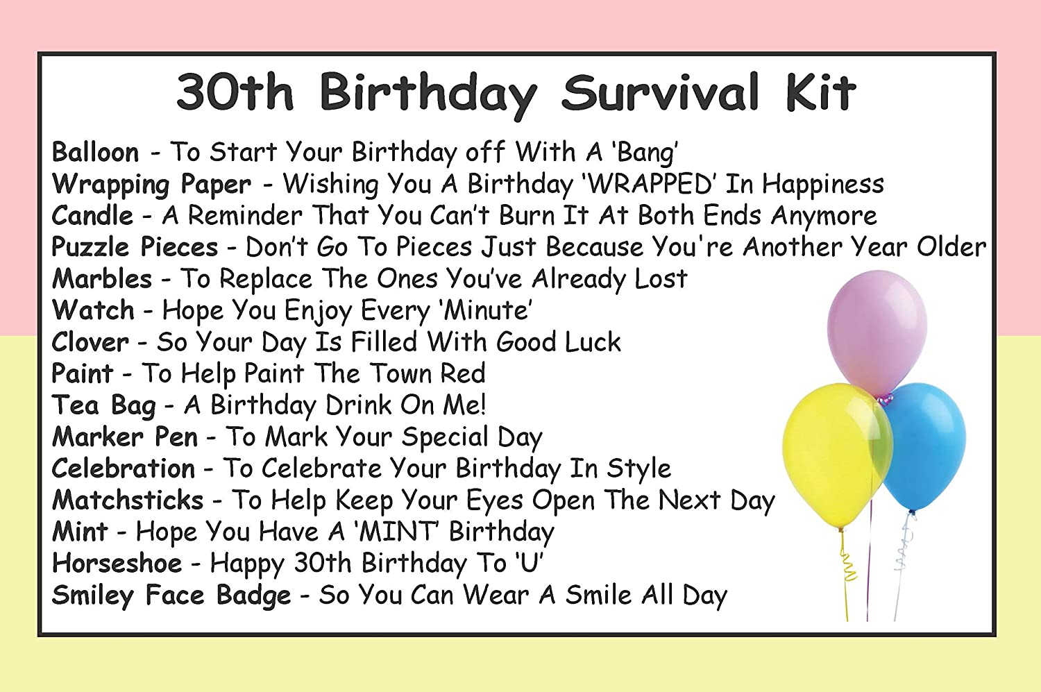 approx 10cm x 6cm Survival Kit In A Can 30th Birthday Novelty Fun Gift/ /Humorous Happy 30th Present /& Card all in One Customise Your Can Colour Pink//Cream