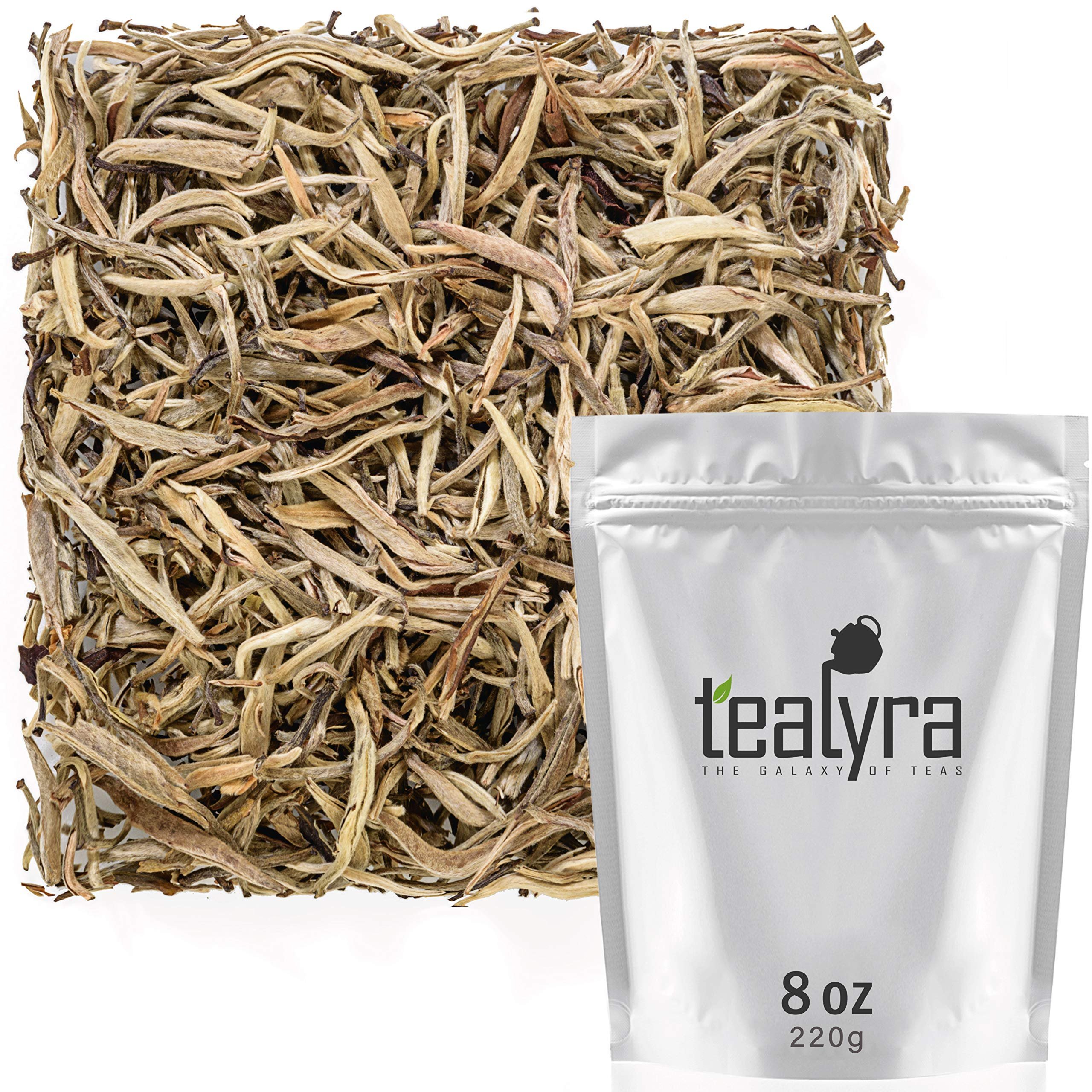 Tealyra - Luxury Jasmine Silver Needle White Losse Tea - Organically Grown in Fujian China - Loose Leaf Tea - Caffeine Level Low - 220g (8-ounce) by Tealyra