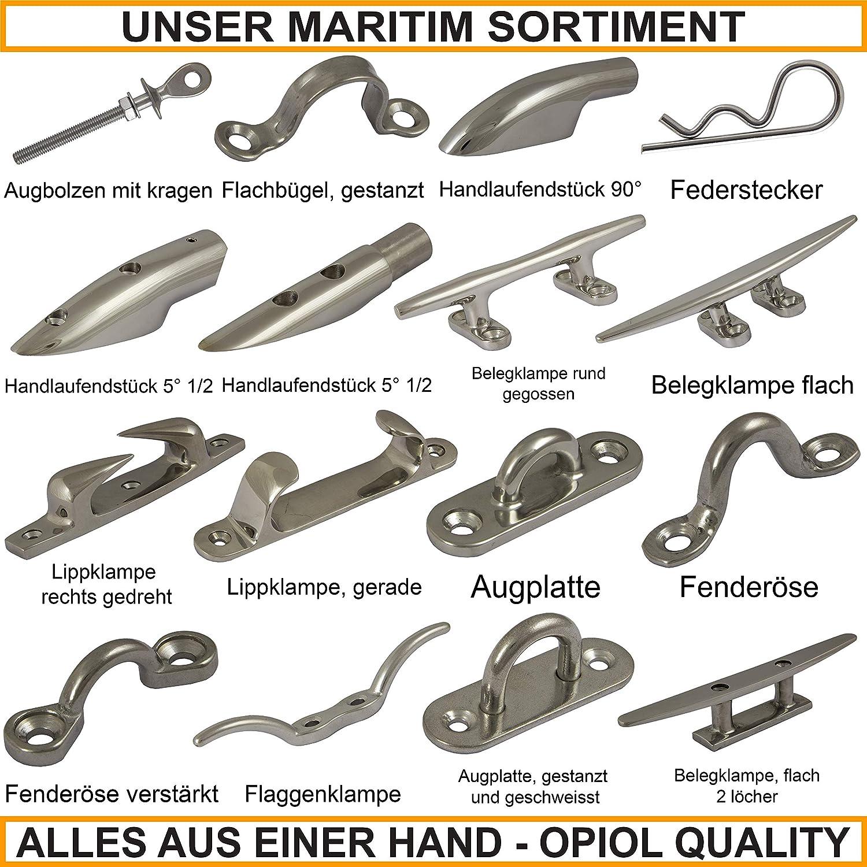 Wandhaken | Edelstahl A2 1 St/ück /Ösenplatte OPIOL QUALITY Augplatte mit Wirbel und Ring 40x40 mm Wirbel/öse Wand-Befestigung Ringplatte