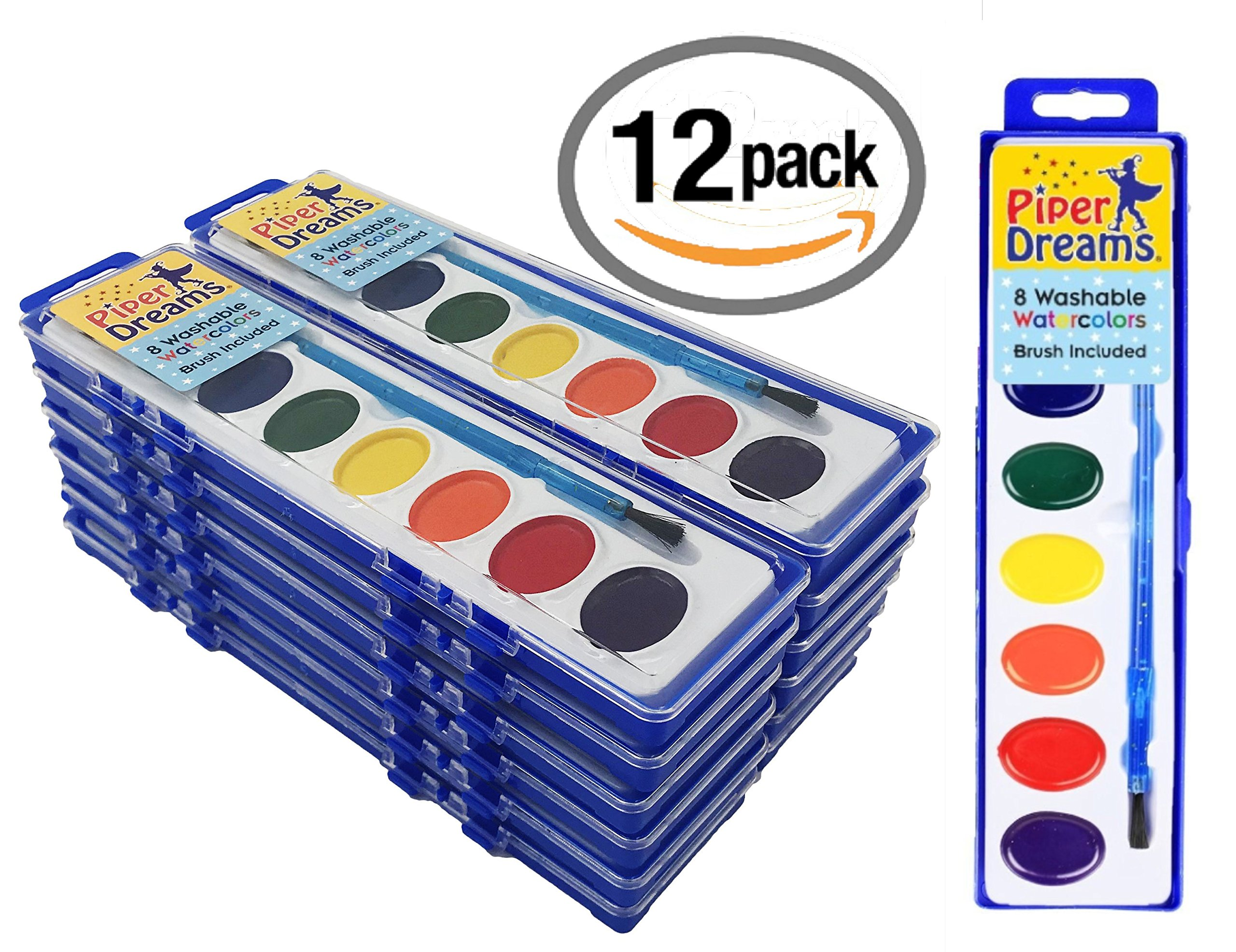12 Pack - Piper Dreams Watercolor Paint Set - Each Tray Includes 8 Vibrant Colors, a Brush and a Closable Lid for Kids on The Go