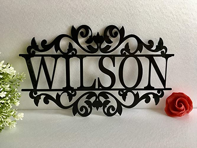 Personalized Any Name Laser Cut Acrylic Metal Wood Sign Outdoor Wall Hanging Family Last Name Signs Monogram Garden Front Door Custom Wedding Sign