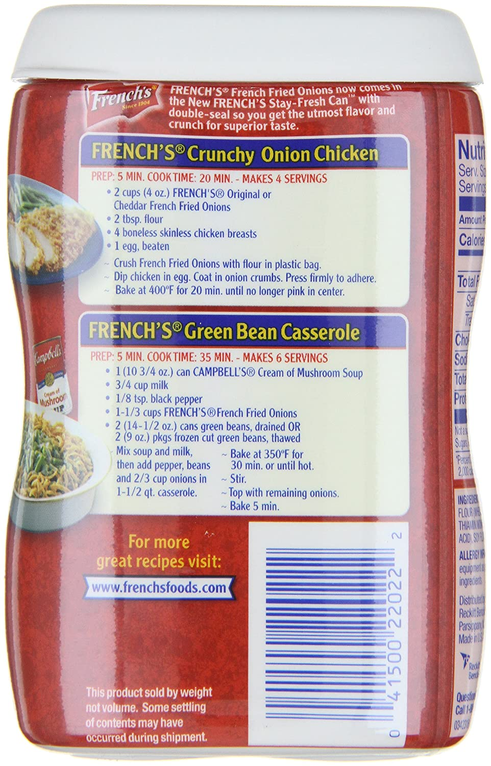 Amazon Com French S French Fried Onions Original 2 8 Ounce Cans