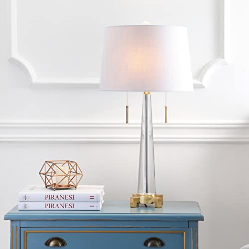 Jonathan Y 29.5 Crystal LED Table Lamp, Clear Brass Gold, Modern, 2 Lights, Bulb Includeds