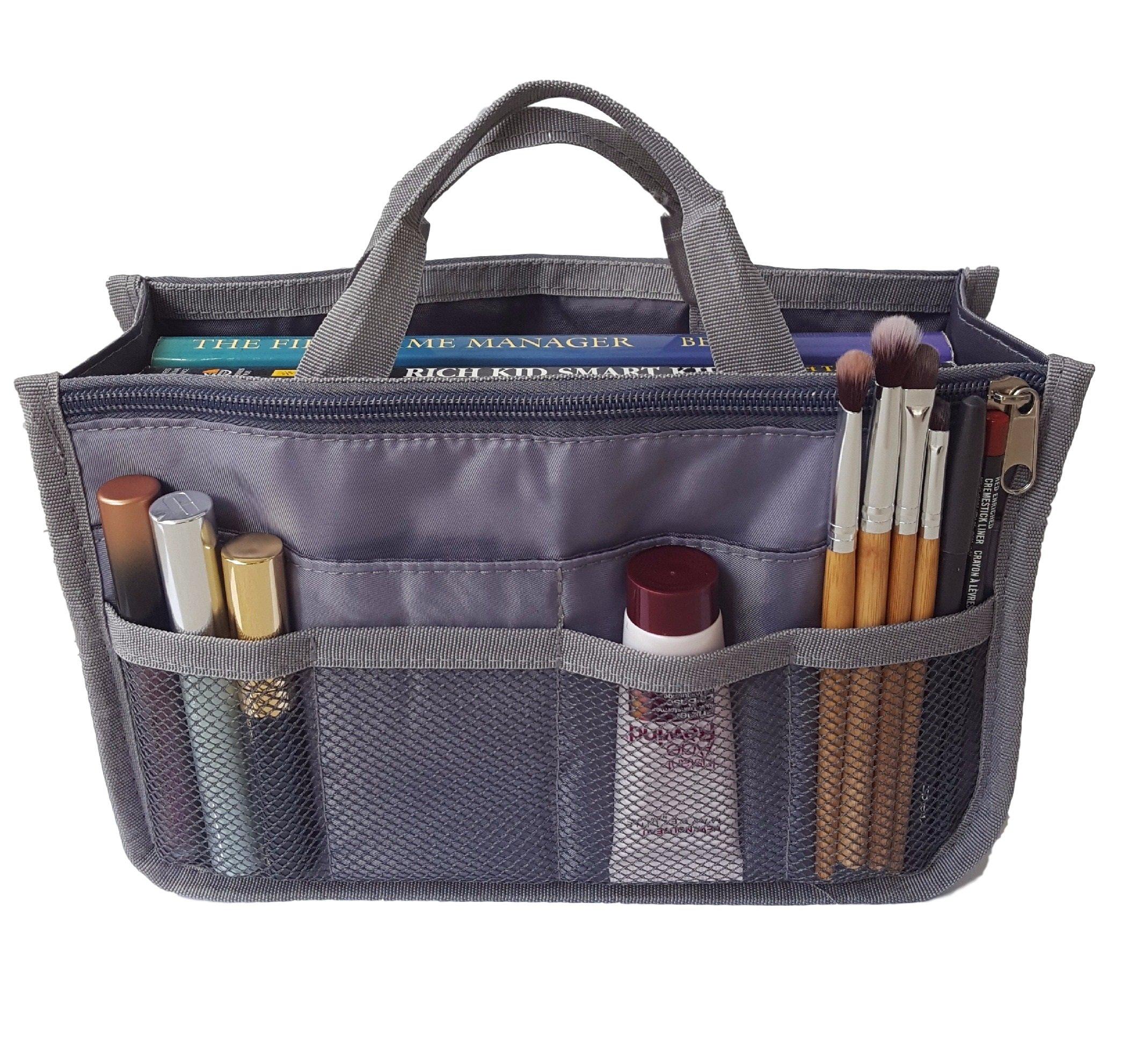 RW Collections Handbag Organizer, Liner, Sturdy Nylon Purse Insert (Medium, Grey)
