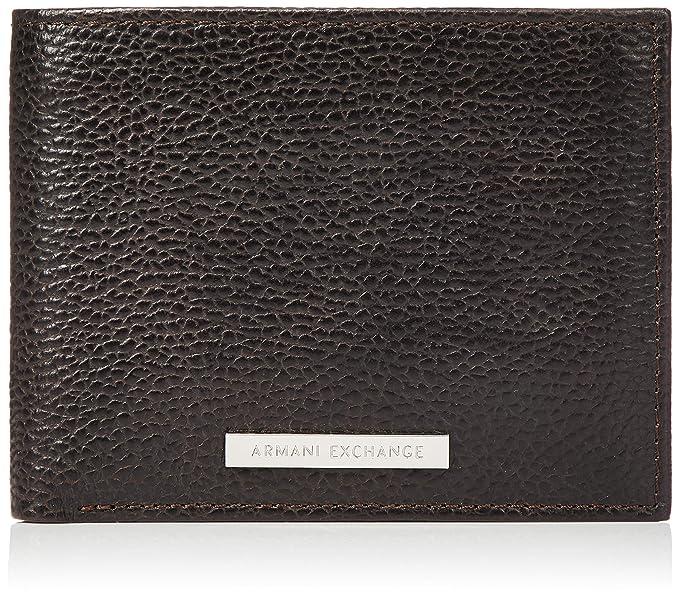 ac243bda2d06 Amazon.com  Armani Exchange Men s Leather Trifold Credit Card Wallet ...