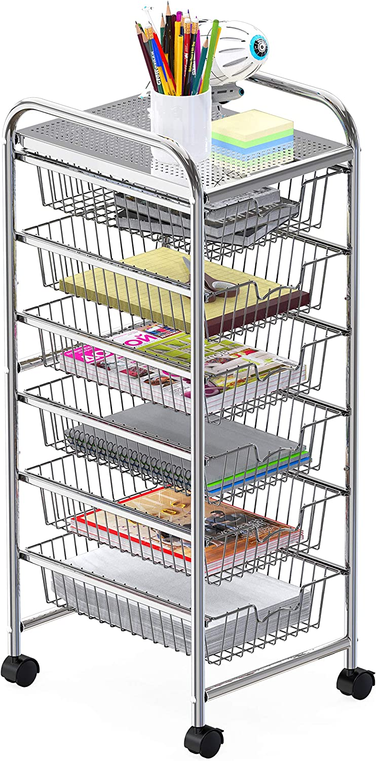 6-Drawer Wire Grid Rolling Utility Storage Organizer Cart, Chrome