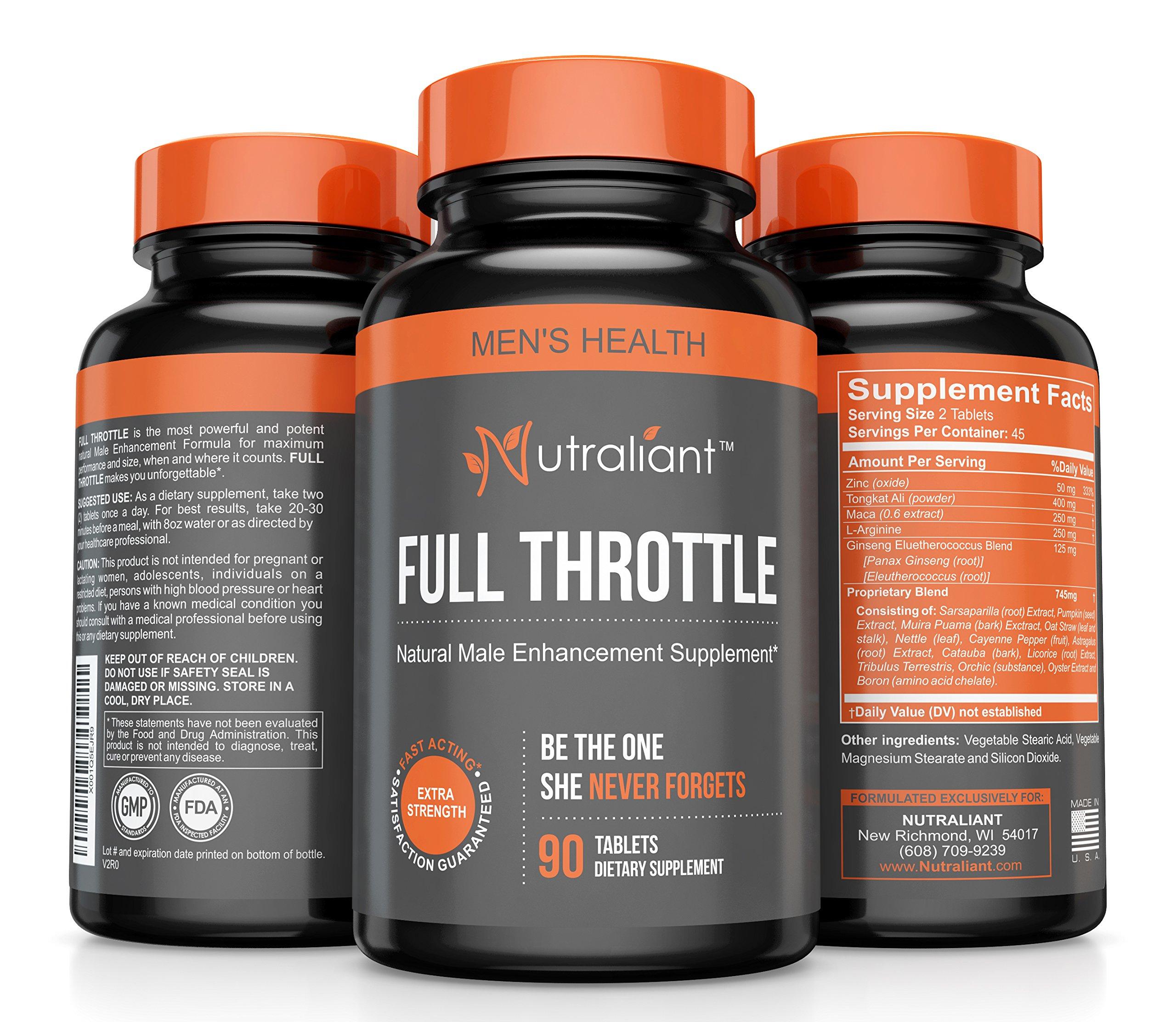Full Throttle #1 Male Enhancement Pills - Testosterone Booster for Men – Increase Size, Blood Flow, Libido, Performance - Potent & Powerful Enhancing Supplement w L Arginine, Maca, Tongkat, Ginseng