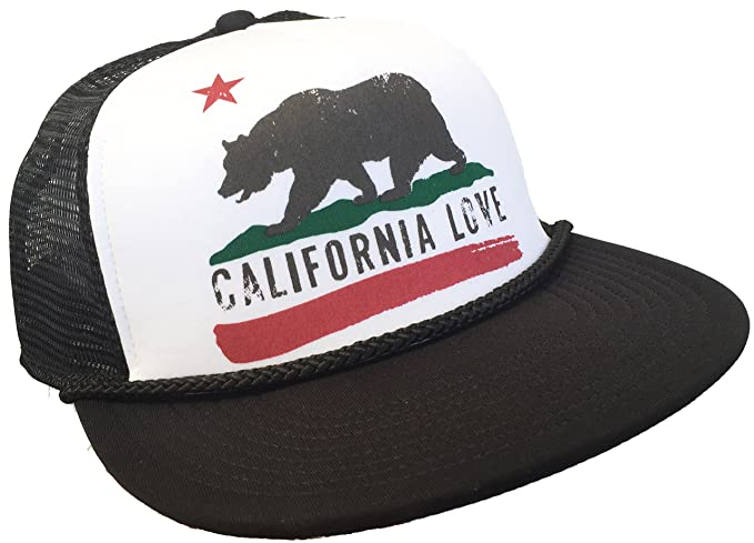 Brooklyn Hat Co California Love Trucker Cap Snap Back Grizzly Bear (Black  Flat Brim) a98ede027238