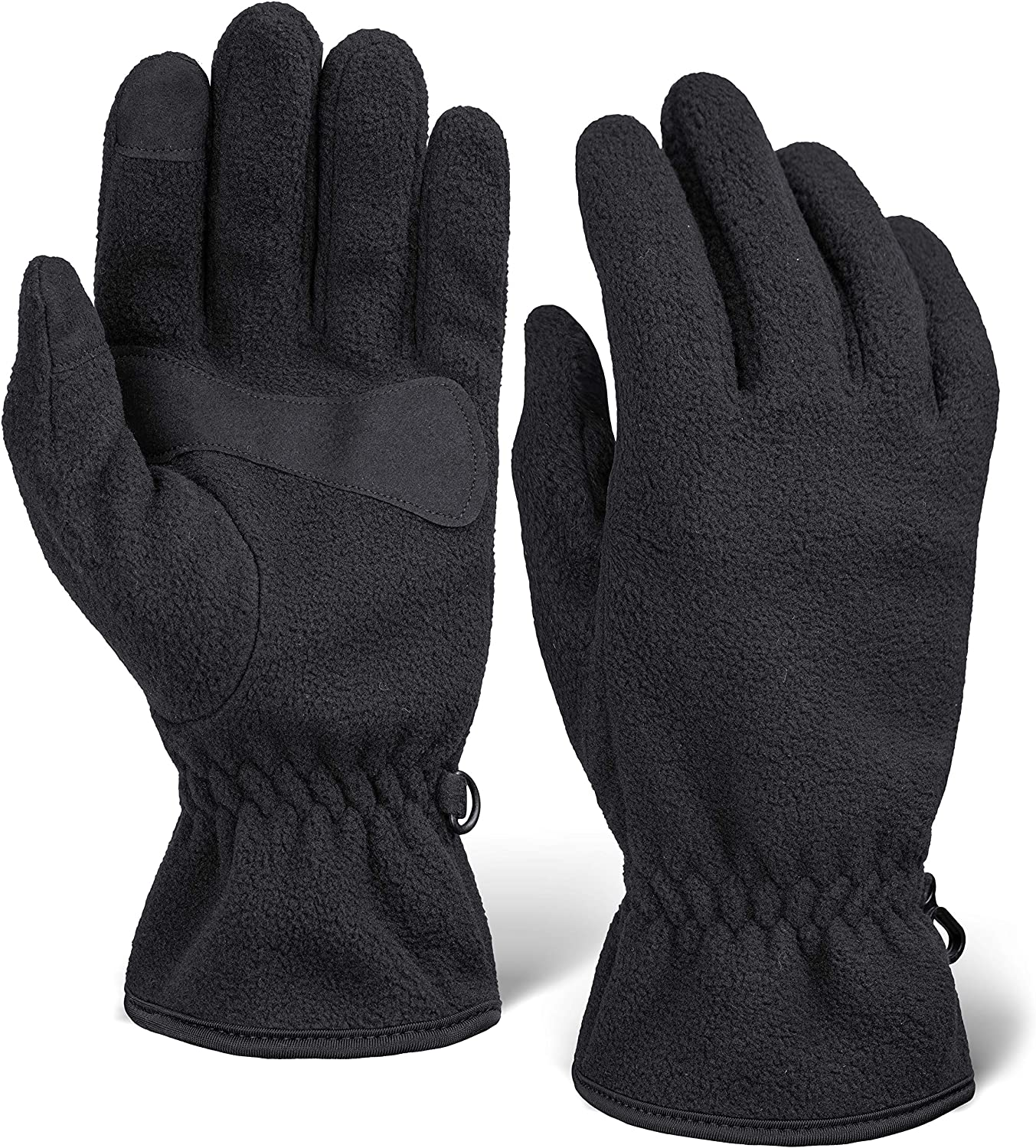 Winter Fleece Touchscreen Gloves for Men & Women - Warm & Soft Black Thermal Gloves for Cold Weather