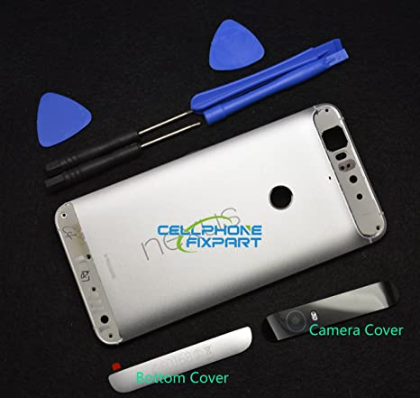size 40 52be6 fd766 Genuine Metal Battery Cover,Rear Panel Replacement with Camera Cover+Bottom  Cover Compatible with Huawei Google Nexus 6P -Silver
