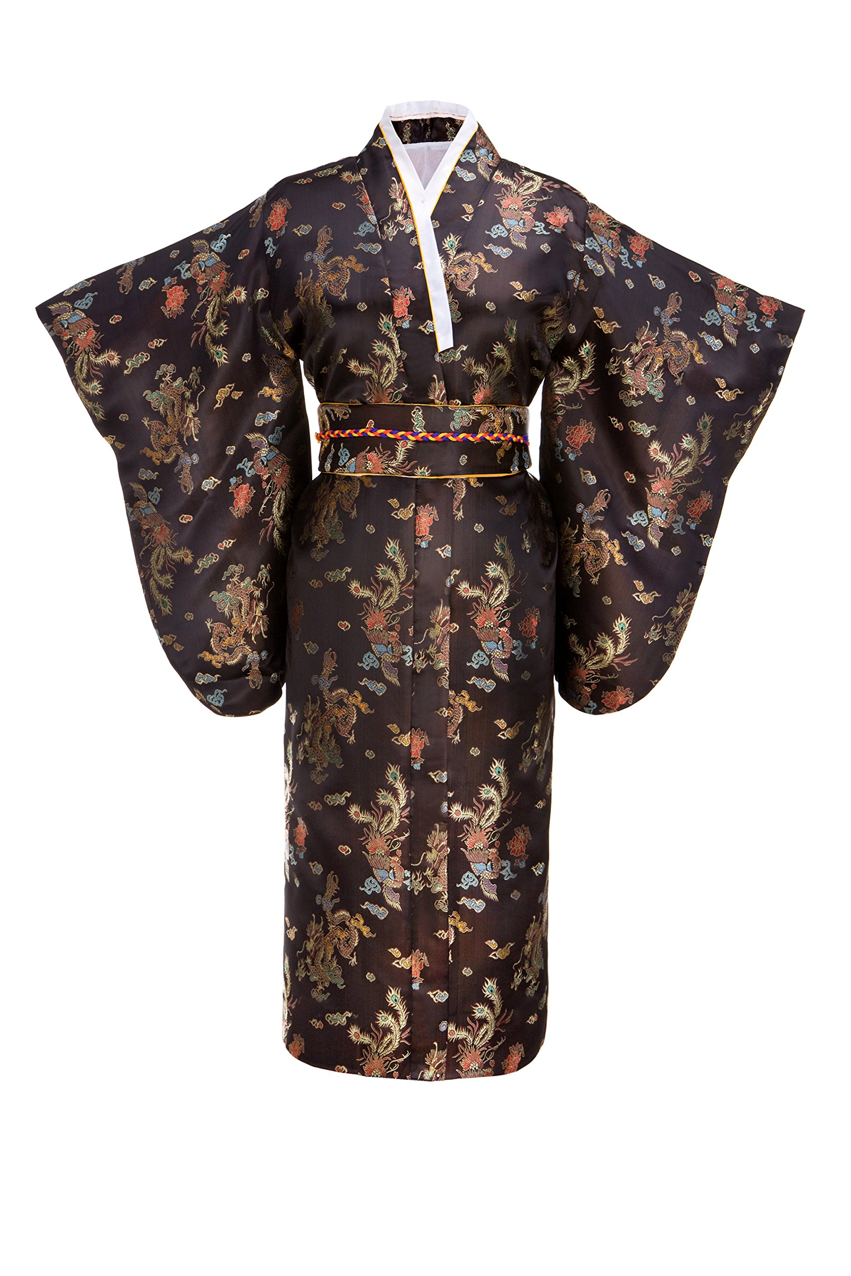 Joy Bridalc Women's Kimono Robe Japanese Traditional Brocade Cosplay Costume,Black Dragon