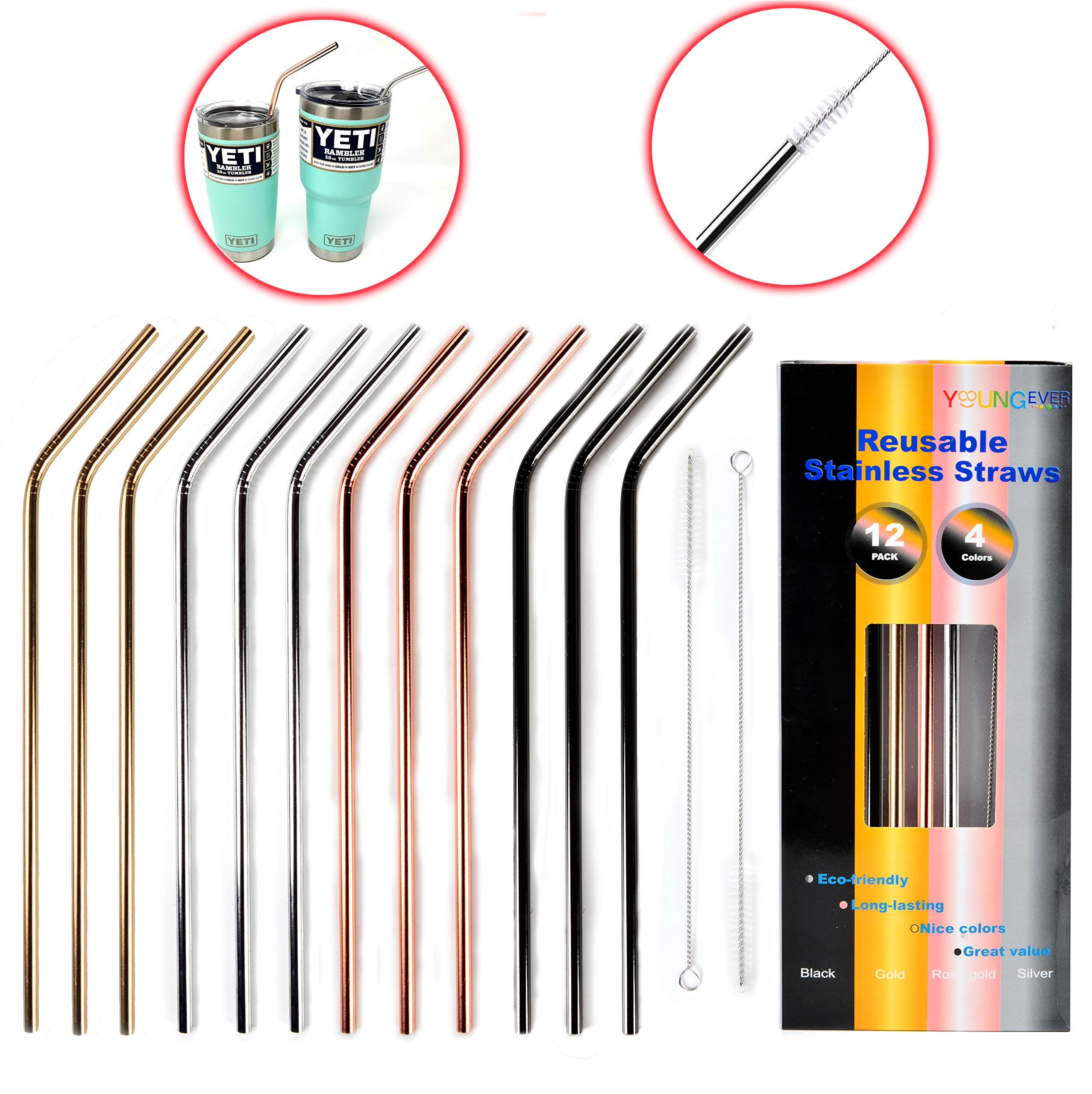 12+2 Pcs Reusable Stainless Steel Straws, Metal Straws, 4 Colors Gold, Silver, Rose Gold & Black - 20 oz & 30 oz Tumblers Straws (Bent)