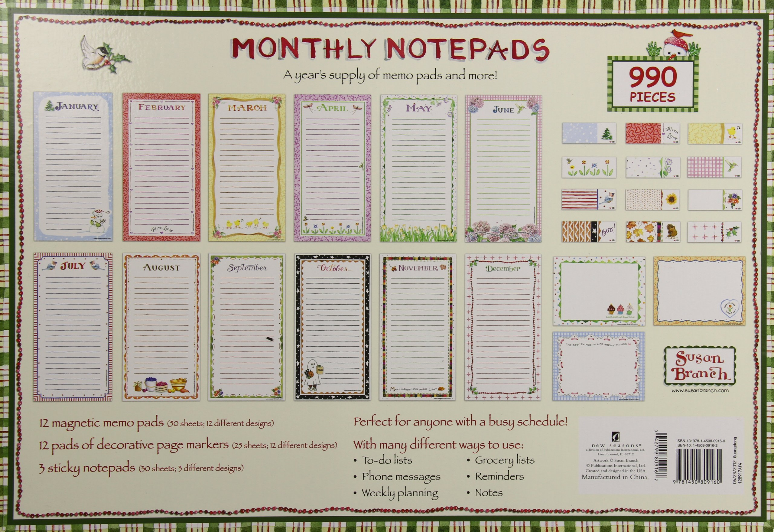 Monthly Notepads Painted Seasons Fall Stripes by New Seasons (Image #2)