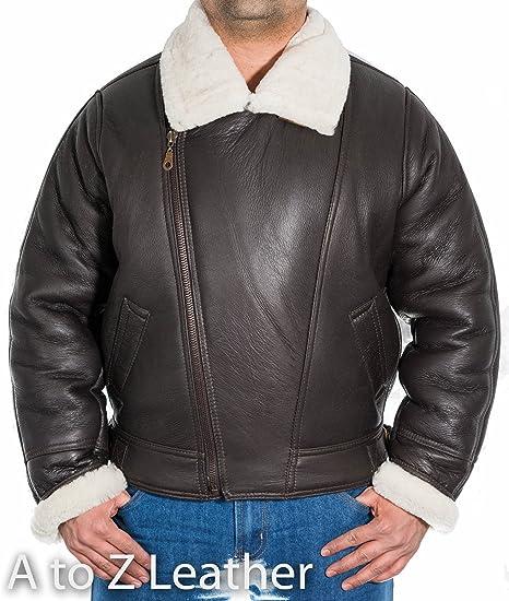 6533df0dbc0 Mens Brown Sheepskin Cross Zip American Bomber Pilot Jacket with Cream Fur   Amazon.co.uk  Clothing