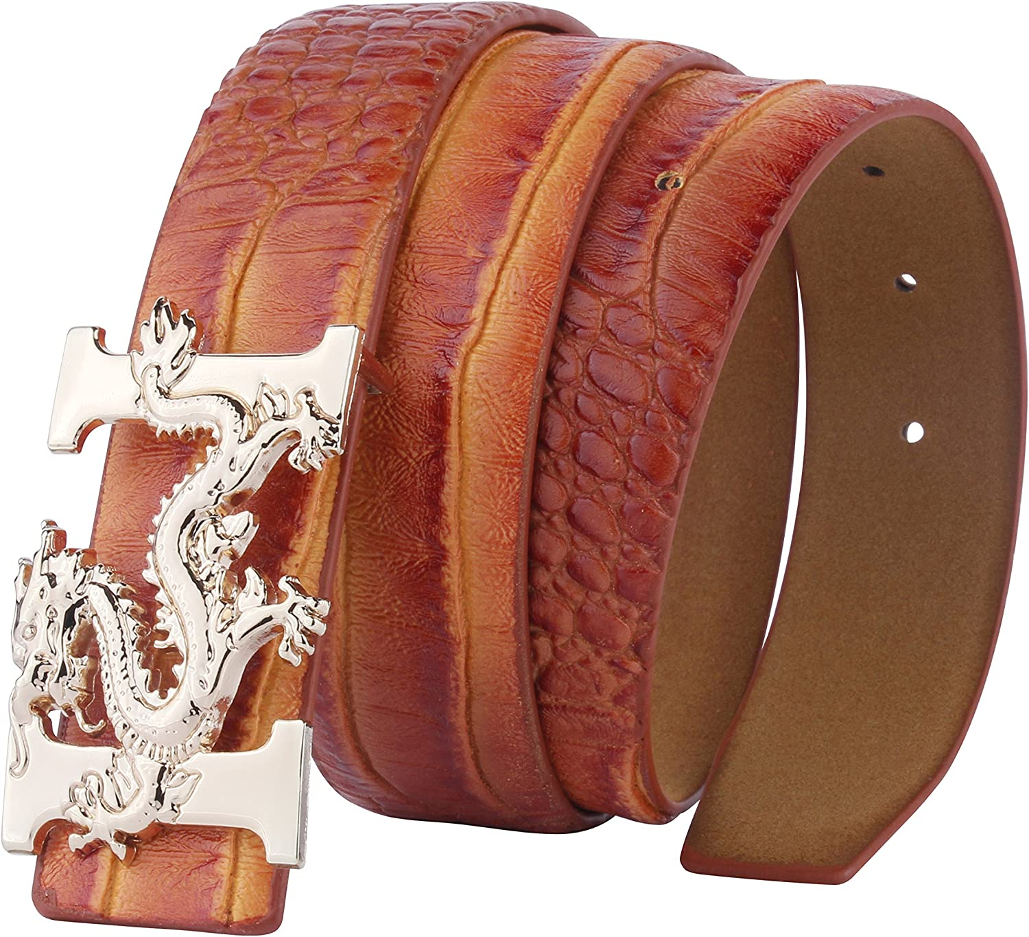 Womens Skinny Leather Belts Fancy Jeans Belt with Removable Alloy Letter Buckle