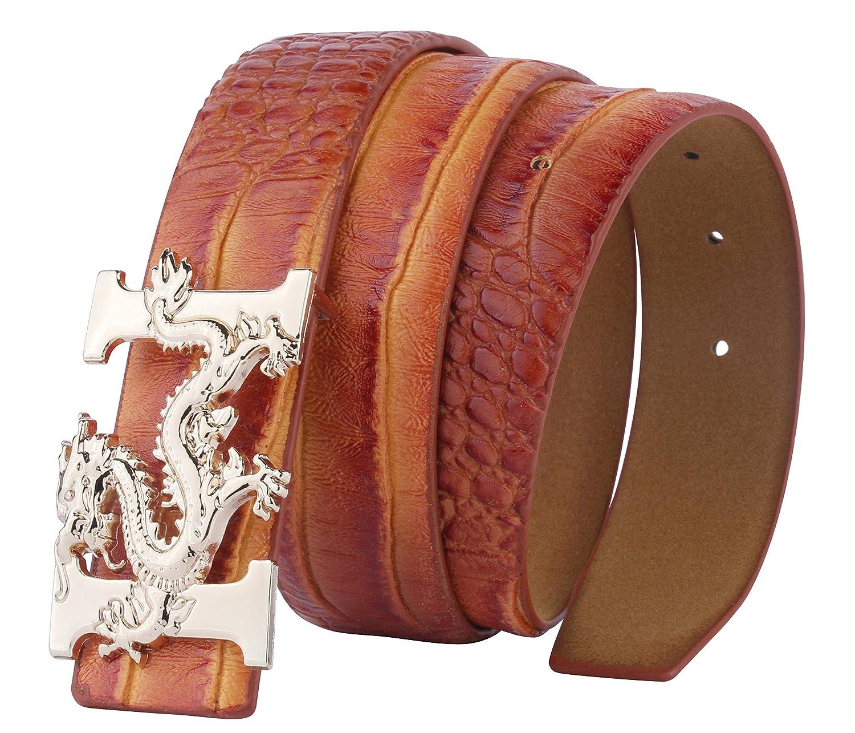 ALAKA Letter H Dragon Buckle Alligator Pattern Leather Mens Belt A001