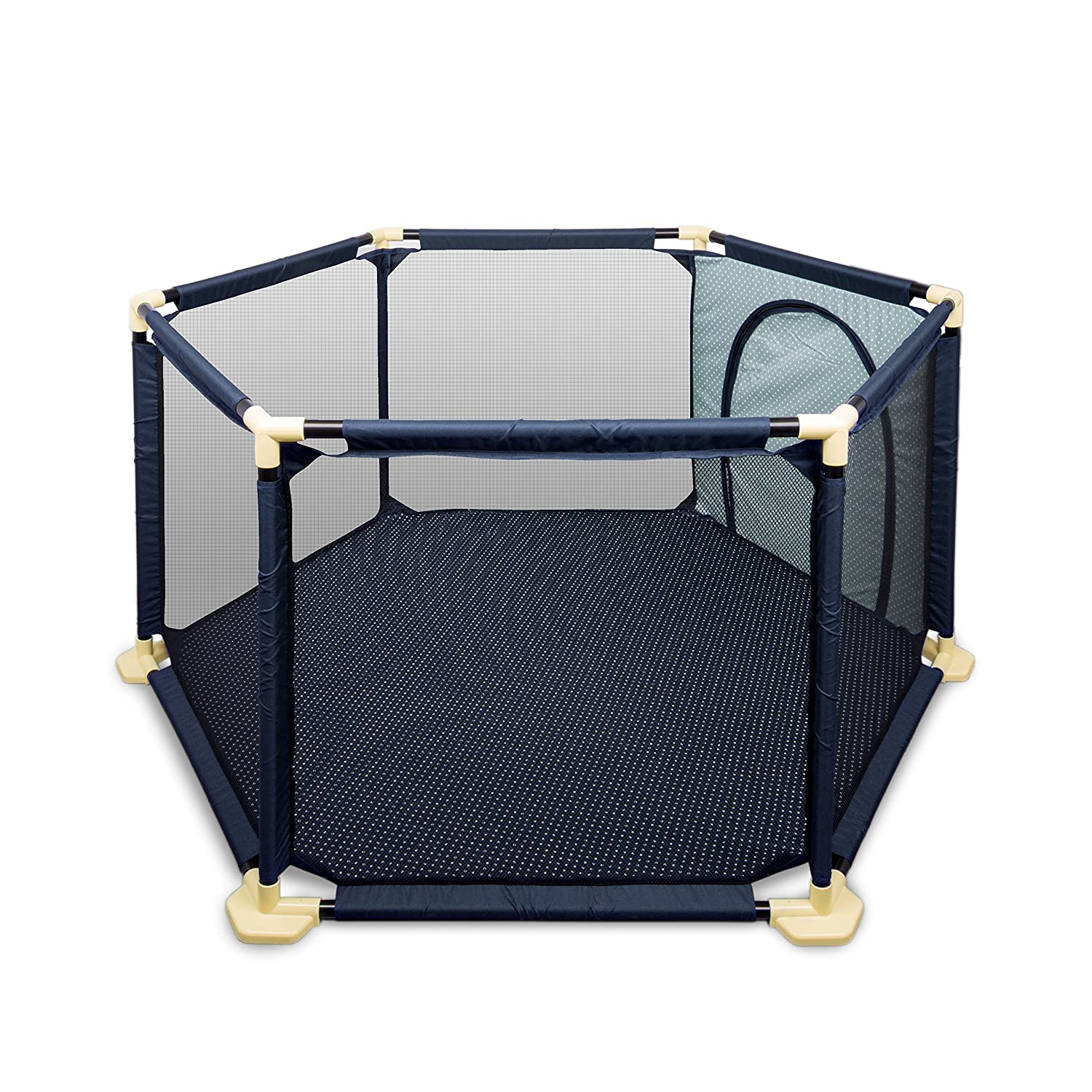 BIGWING Style Baby Playpen Foldable Baby Kids Play pens 6 Panel Kids Activity Center Room Fitted Floor Mats-66.5 x 148 cm-Blue