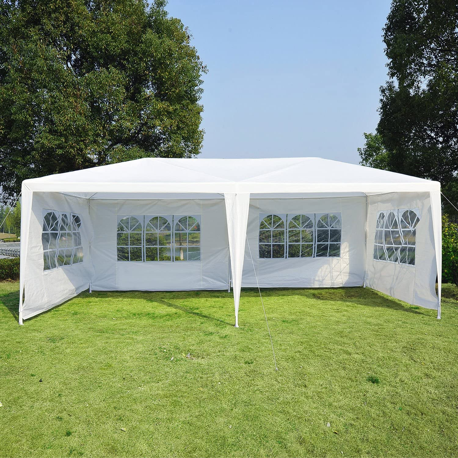 White Outsunny 10/' x 20/' Gazebo Canopy Party Tent w// 4 Removable Window Side Walls