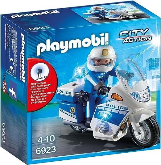 PLAYMOBIL City Action Policía con Moto y Luces LED, A partir de 5 años (6923): Amazon.es: Juguetes y juegos