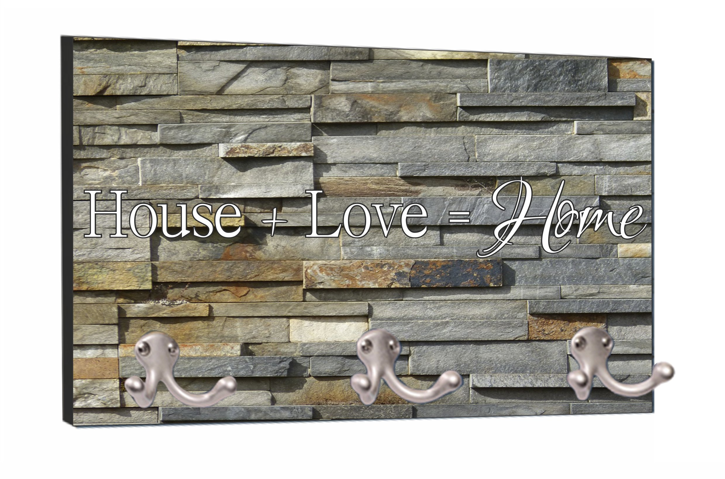 House + Love = Home - Stone Print - 8'' by 16'' Mountable Coat Hanger Rack Household Decoration with Three Double Silver Hooks