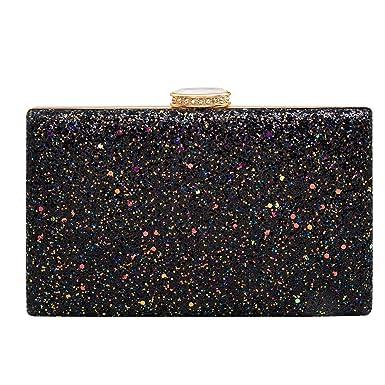 e256f004d4c Women's Elegant Sparkling Glitter Evening Clutch Bags BlingEvening Handbag  Purses For Wedding Prom Bride(Black