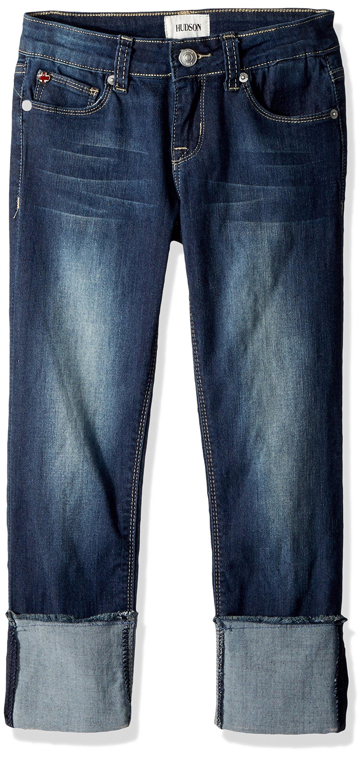 HUDSON Big Girls' Roll Cuff Crop Pant, Oxford Blue, 14 by HUDSON
